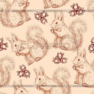 다람쥐와 너트 원활한 패턴 | 벡터 클립 아트 |ID 3145471