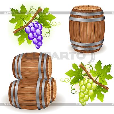 Wooden barrels and grape | Stock Vector Graphics |ID 3183534