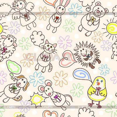 Child drawing seamless pattern | Stock Vector Graphics |ID 3222630
