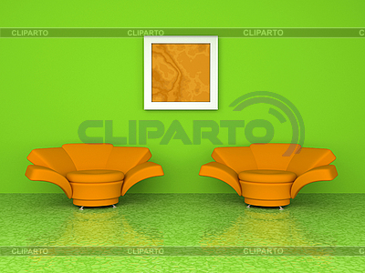 Green interior with two orange armchairs 3d rendering | High resolution stock illustration |ID 3040211