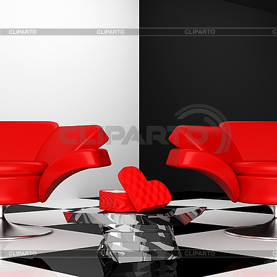 Black-and-white interior with two red armchair with hearts | High resolution stock illustration |ID 3040212