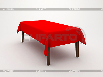 Table covered with tablecloth | High resolution stock illustration |ID 3062012