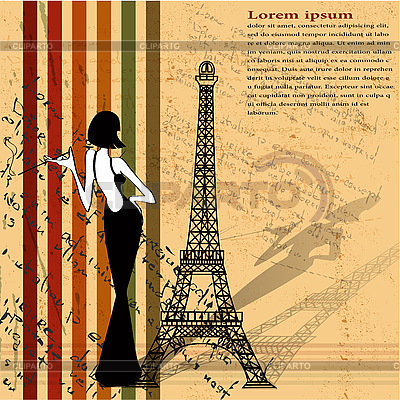 Retro grunge background with Eiffel tower | Stock Vector Graphics |ID 3040527