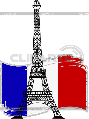 Eiffel tower and french flag | Stock Vector Graphics |ID 3042141