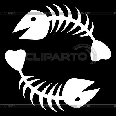 Dwa streszczenie szkielet ryby | Klipart wektorowy |ID 3217638