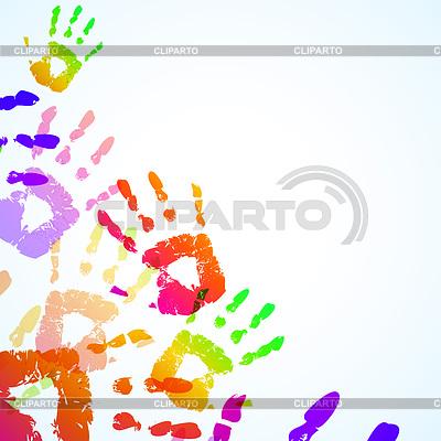 七彩手印背景 | 向量插图 |ID 3334749