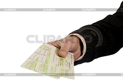 Hand mit Flugscheinen | Foto mit hoher Auflösung |ID 3056431