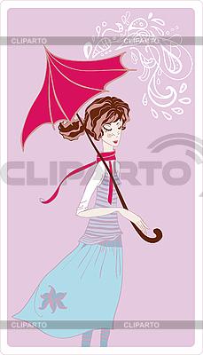 Junge Frau im Regen | Stock Vektorgrafik |ID 3041749