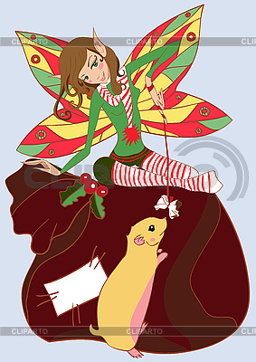 Funny christmas fairy | Stock Vector Graphics |ID 3062341