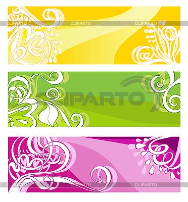 Jasne transparenty z elementami kwiatów | Klipart wektorowy |ID 3099179