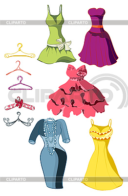 Set of bright dresses and hangers | Stock Vector Graphics |ID 3111060