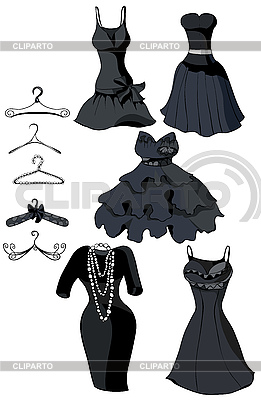 Set of black dresses and hangerss | Stock Vector Graphics |ID 3111064