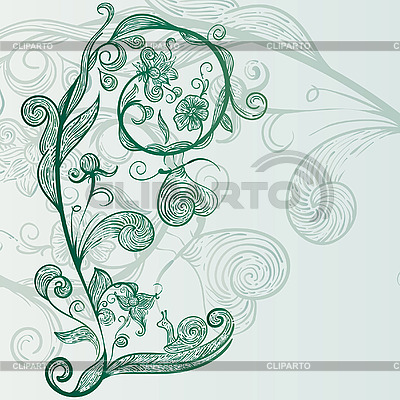 Blumen, Schnecke, Schmetterlinge | Stock Vektorgrafik |ID 3042452