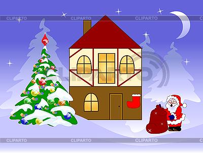 Weihnachtskarte mit Weihnachtsmann | Stock Vektorgrafik |ID 3042651
