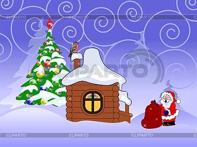 산타 클로스와 크리스마스 카드 | 벡터 클립 아트 |ID 3042653