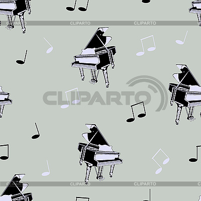 Seamless piano background with music notes | Stock Vector Graphics |ID 3042707