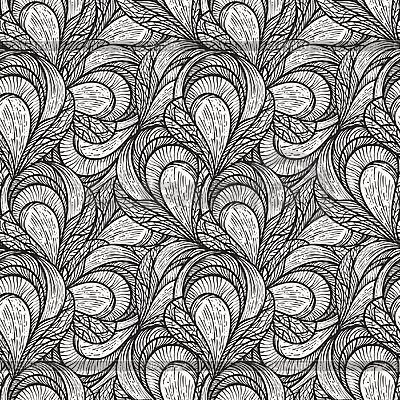 Nahtloses abstraktes monochromes Blumenmuster | Illustration mit hoher Auflösung |ID 3044853
