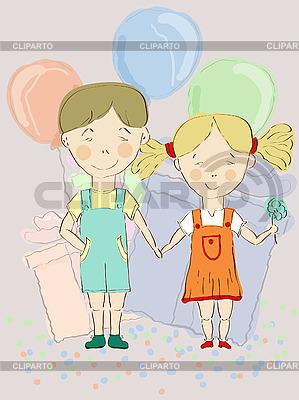 Chłopiec i dziewczynka z balonów | Klipart wektorowy |ID 3044865