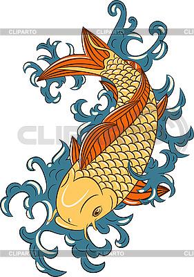 Japanisches Muster mit Koi-Karpfen-Fisch | Stock Vektorgrafik |ID 3065694