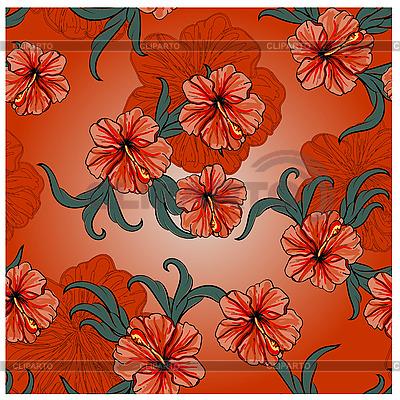 Wzór wiosna z kwiatami hibiskusa i liści | Klipart wektorowy |ID 3065698