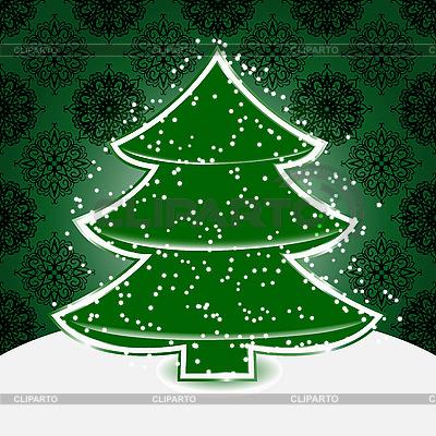 눈송이와 크리스마스 트리 | 벡터 클립 아트 |ID 3081081