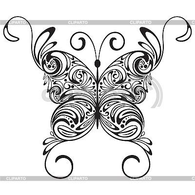Mariposa Tatuaje Blanco Y Negro Ilustración Vectorial De Stock