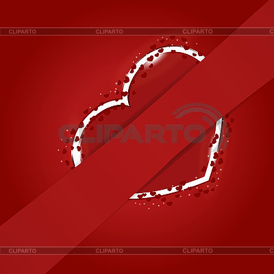 Red heart behind the ribbon | Stock Vector Graphics |ID 3104971