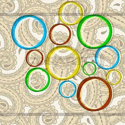 Jasne koła na orientalne paisley tle | Klipart wektorowy |ID 3135004