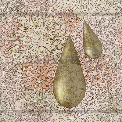 원활한 꽃 배경에 황금 액체 방울   벡터 클립 아트  ID 3137152