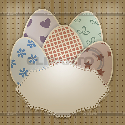 复活节贺卡鸡蛋和花边餐巾纸   向量插图  ID 3154135
