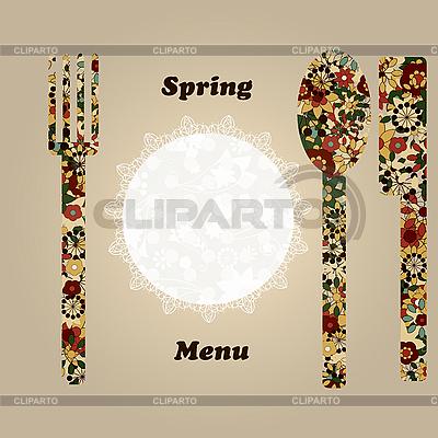 Menü-Vorlage mit Messer, Gabel, Serviette und Löffel | Stock Vektorgrafik |ID 3201077