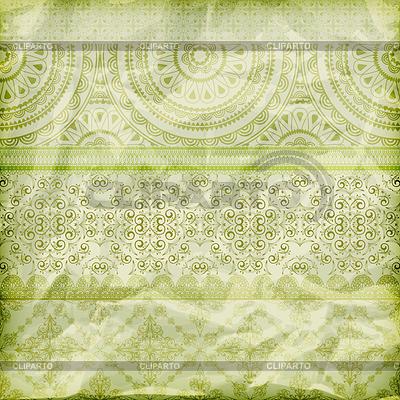Seamless floral grenzt an zerknülltes Papier te grüne Folie | Illustration mit hoher Auflösung |ID 3250638