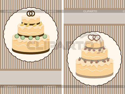 Two retro wedding invitation with big wedding cake | Stock Vector Graphics |ID 3266795
