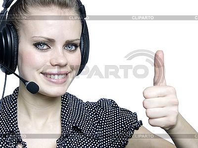 Atrakcyjna młoda dziewczyna z zestawu słuchawkowego | Foto stockowe wysokiej rozdzielczości |ID 3047594