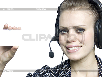 Smiling attractive young girl with headset | High resolution stock photo |ID 3047595