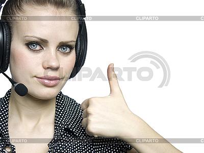 Smiling attractive young women with headset | Foto stockowe wysokiej rozdzielczości |ID 3047596