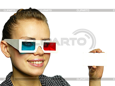 Young girl smiles in anaglyph points | High resolution stock photo |ID 3047597