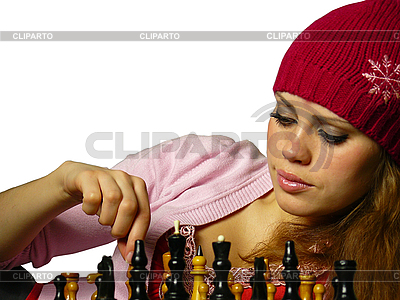 Dziewczyna gra w szachy | Foto stockowe wysokiej rozdzielczości |ID 3047598