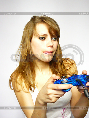 Woman plays video game   High resolution stock photo  ID 3048984