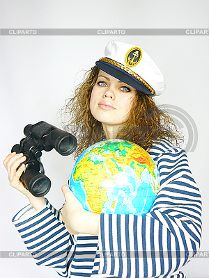 Attractive woman seafarer with the globe   High resolution stock photo  ID 3054452