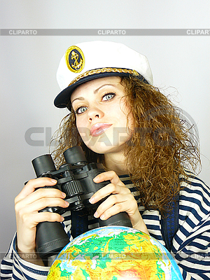 Girl the captain with the globe | High resolution stock photo |ID 3054455
