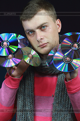 Guy holds disks in hands   High resolution stock photo  ID 3059874
