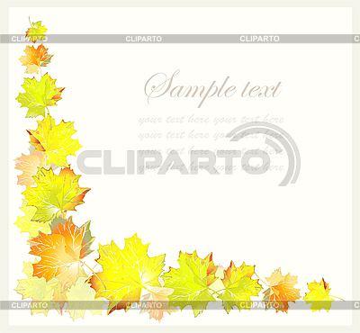 Ecke von gelben Ahorn-Blättern | Stock Vektorgrafik |ID 3055274