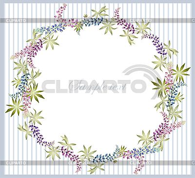 Greeting card with lupine wreath   Stock Vector Graphics  ID 3069878