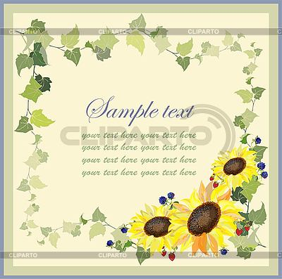 Greeting card with sunflowers and blackberries   Stock Vector Graphics  ID 3070192