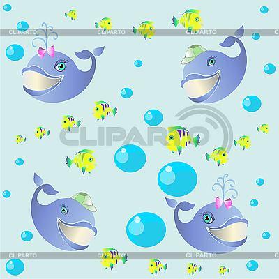 Фон из мультяшных китов и рыбок | Векторный клипарт |ID 3070240