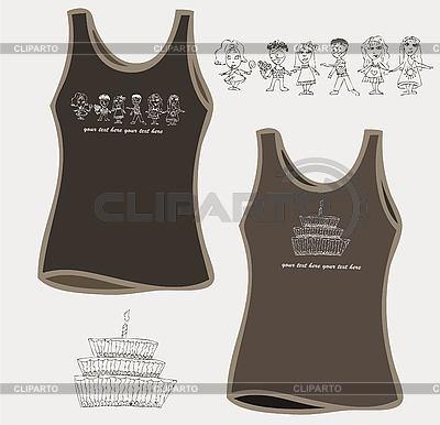 Women `s t-shirt wzory z ciastem i chikdren | Klipart wektorowy |ID 3070530