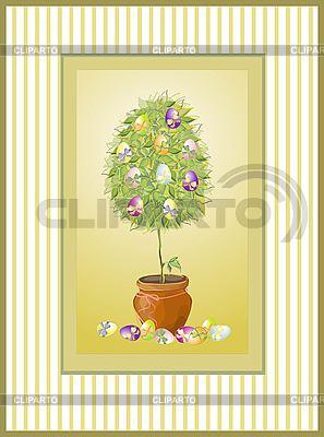 Easter vintage card with tree and eggs | Stock Vector Graphics |ID 3070744