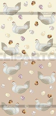 Фон курица с пасхальными яйцами | Векторный клипарт |ID 3070750