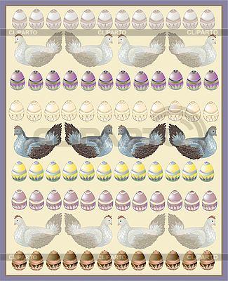 닭과 계란 부활절 카드 | 벡터 클립 아트 |ID 3070752